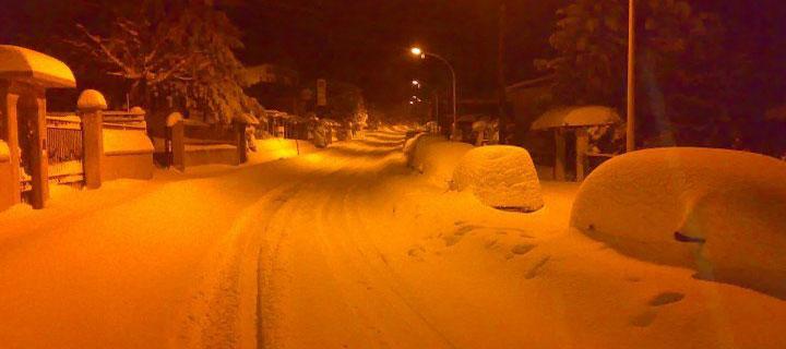 Viale Europa con la neve