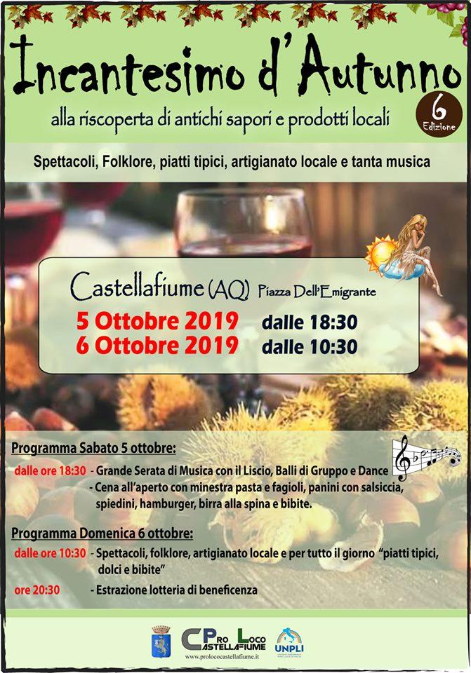 Sesta edizione dell'evento 'Incantesimo d'autunno' a Castellafiume